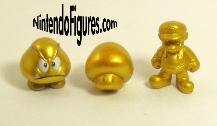 Gold Mario, Mushroom, Goomba Figures