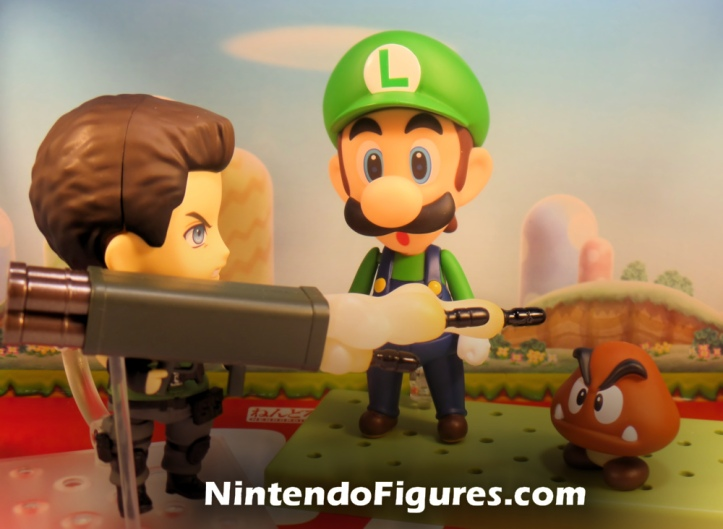 Chris Redfield Nendoroid with Luigi and Goomba