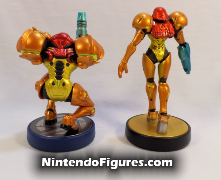 Samus Aran Metroid and Super Smash Brothers Amiibo Comparison Back