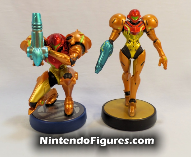 Samus Aran Metroid and Super Smash Brothers Amiibo Comparison Front