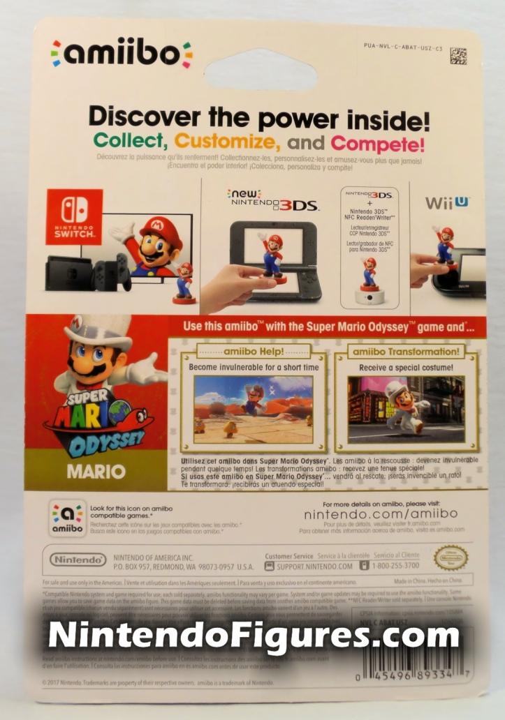 Mario Super Mario Odyssey Amiibo Box Back