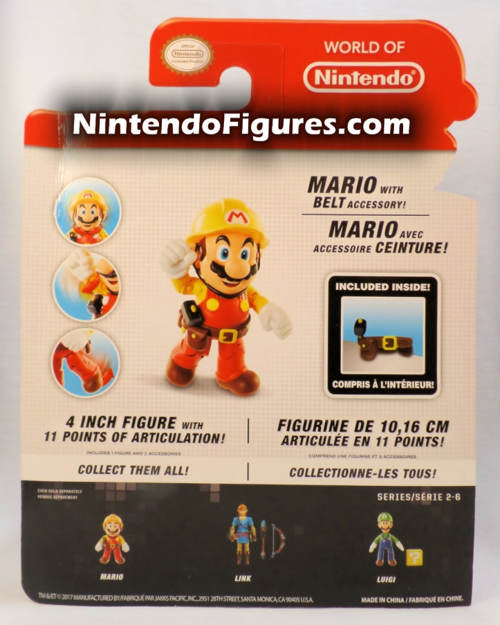 "Mario Super Mario Maker World of Nintendo 4"" Figure Box Back"