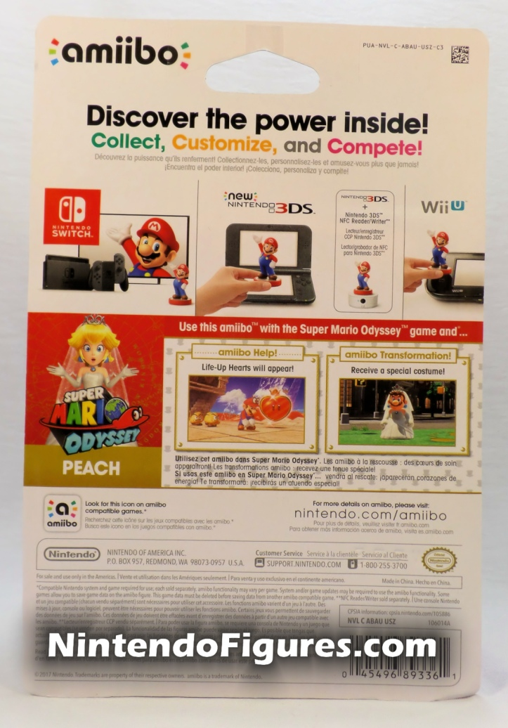 Princess Peach Super Mario Amiibo Box Back