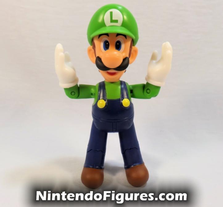 "Luigi World of Nintendo 4"" Figure Touchdown Pose Open Hands Super Mario Jakks Pacific"