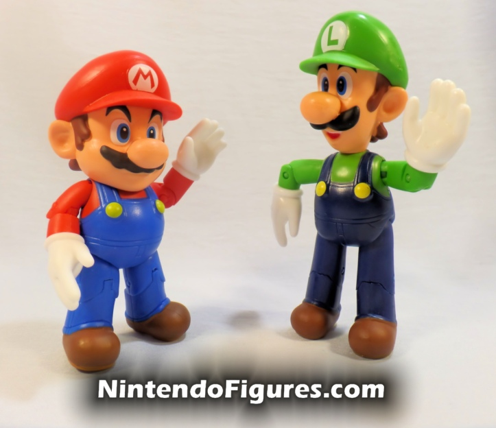 "Luigi World of Nintendo 4"" Figure with Mario Open Hands Super Mario Jakks Pacific"