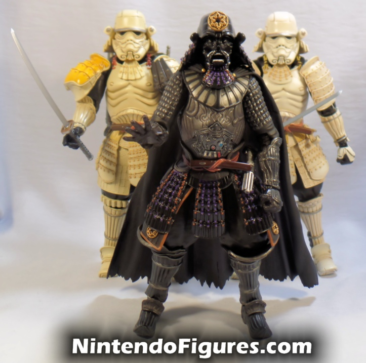 Ashigaru Stormtrooper Bandai Star Wars Movie Realization Tamashii Nations with Sandtrooper and Darth Vader