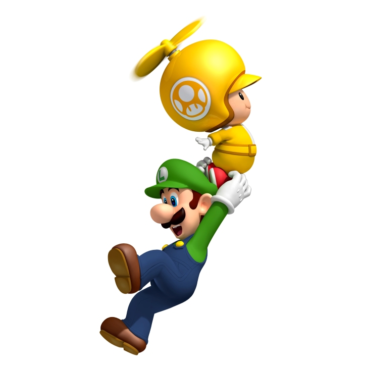 Propeller Toad with Luigi New Super Mario Bros Wii Nintendo
