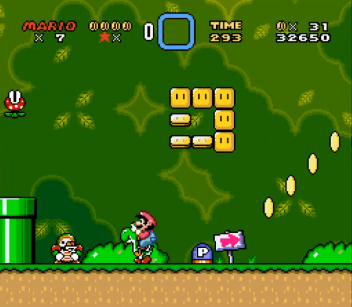 Super Mario World Chargin' Chuck Mario and Yoshi SNES Screenshot