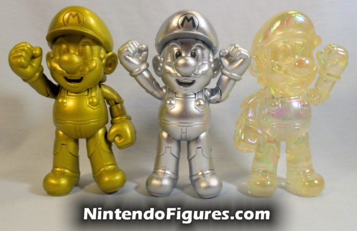 "Metal Mario World of Nintendo 4"" Inch Figure Jakks Pacific With Gold Mario and Star Power Mario"