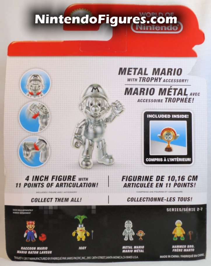 "Metal Mario World of Nintendo 4"" Inch Figure Jakks Pacifc Box Back"
