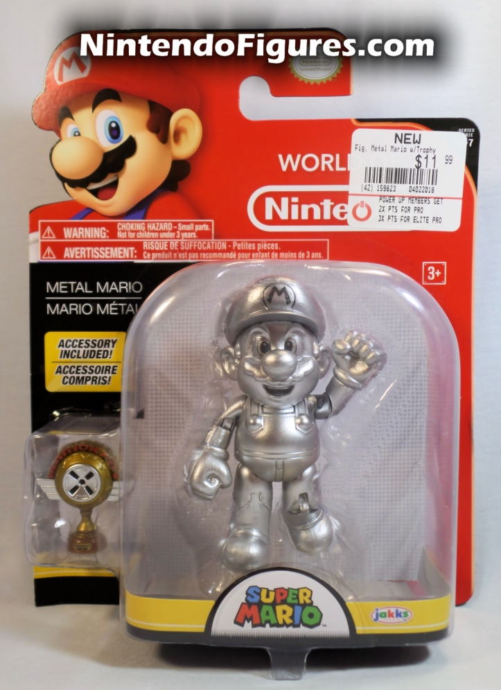 "Metal Mario World of Nintendo 4"" Inch Figure Jakks Pacifc Box Front"