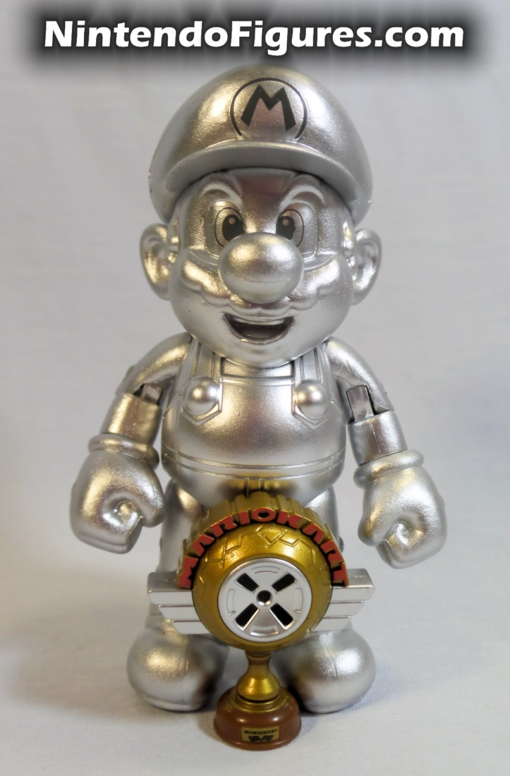 "Metal Mario World of Nintendo 4"" Inch Figure Jakks Pacific With Trophy 1"