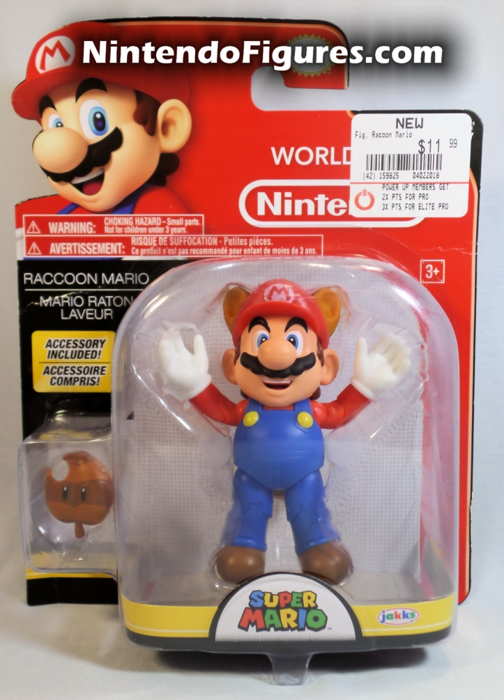 "Raccoon Mario World of Nintendo Box Front 4"" Figure Jakks Pacific"