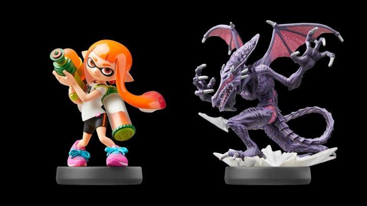 Inkling Girl and Ridley Amiibo Super Smash Bros. Ultimate