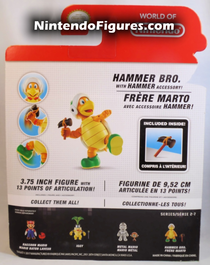 "Hammer Bro World of Nintendo 4"" Inch Figure Box Back"