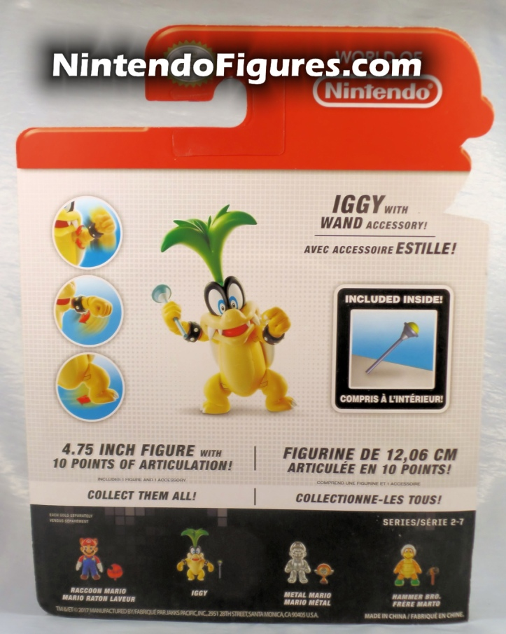 "Iggy World of Nintendo 4"" Inch Figure Box Back"