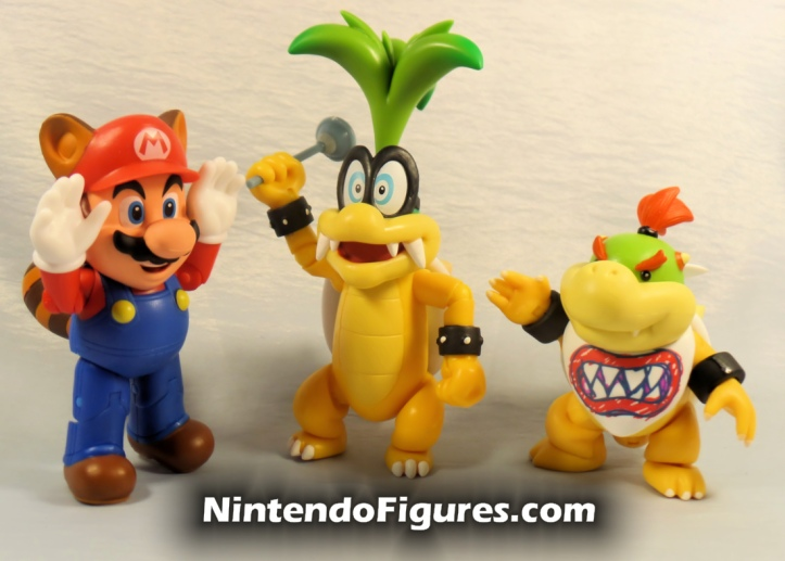 "Iggy World of Nintendo 4"" Inch Figure Super Mario Jakks Pacific Raccoon Mario Bowser Jr."